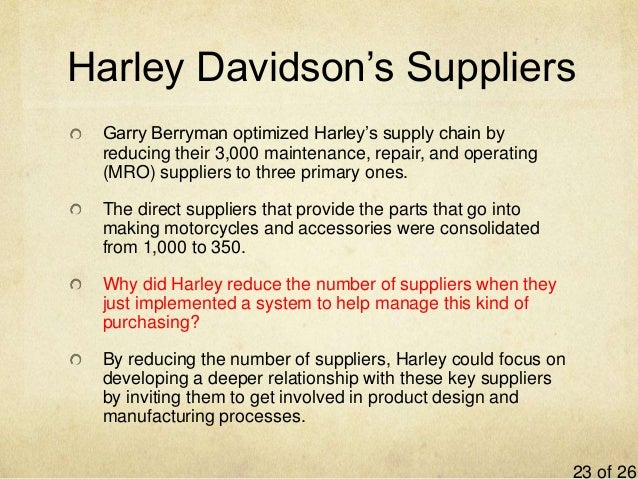 harley davidson and supplier chain management View homework help - assignment 65 - supply chain management from mba   assignment 66 2 question 1 - harley-davidson has its engine assembly.