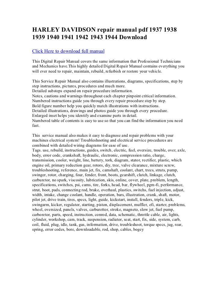 harley davidson repair manual pdf