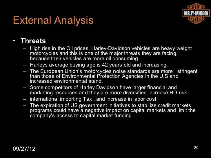 harley davidson vrio analysis An internal analysis was conduct for harley davidson in appendix 3 which indentifies harley davidson resources and capabilities after indentifying harley davidson's resources and capabilities a vrio/vrine test was conducted to determine harley davidson strategic capabilities which are seen in the table 31 in appendix 3.
