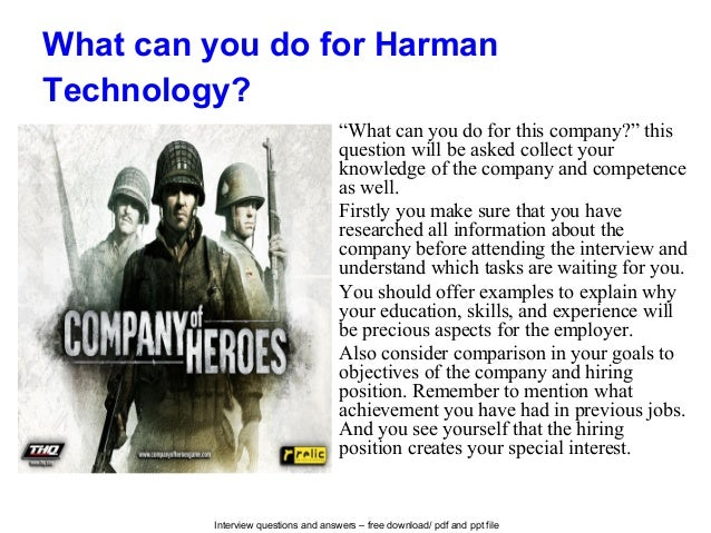 """Interview questions and answers – free download/ pdf and ppt file What can you do for Harman Technology? """"What can you do ..."""