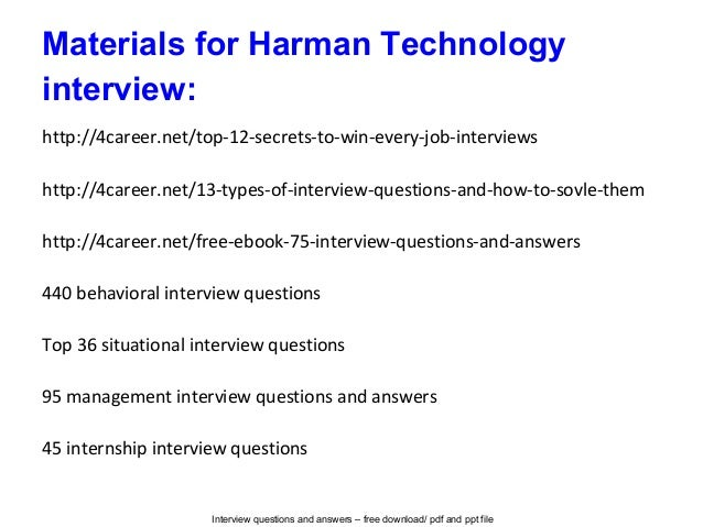 Harman Technology Interview Questions And Answers