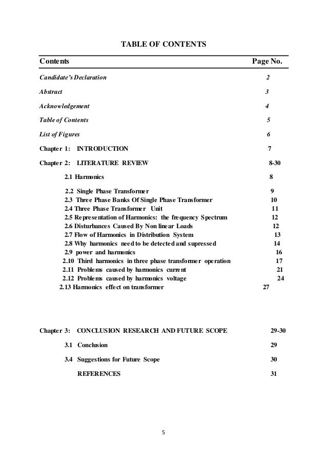 5 TABLE OF CONTENTS Contents Page No. Candidate's Declaration 2 Abstract 3 Acknowledgement 4 Table of Contents 5 List of F...
