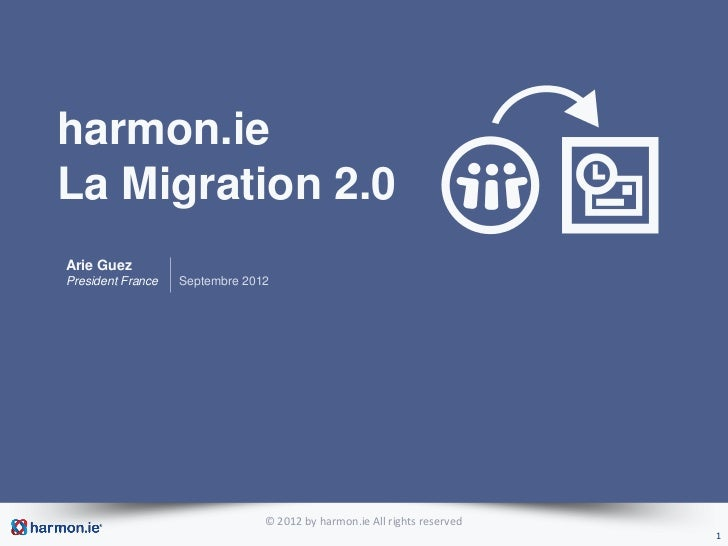 harmon.ieLa Migration 2.0Arie GuezPresident France   Septembre 2012                                © 2012 by harmon.ie All...
