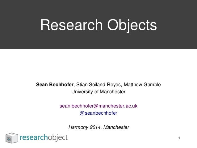 Sean Bechhofer, Stian Soiland-Reyes, Matthew Gamble University of Manchester sean.bechhofer@manchester.ac.uk @seanbechhofe...