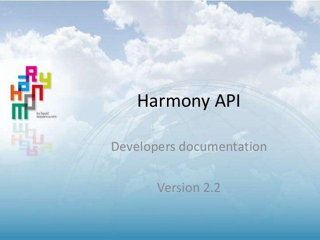 Harmony API Developers documentation  Version 2.2