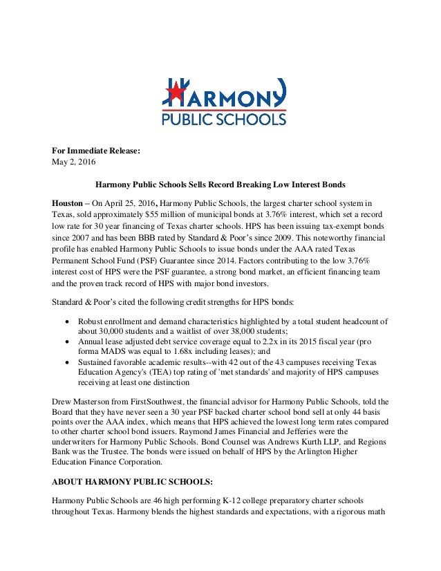 For Immediate Release: May 2, 2016 Harmony Public Schools Sells Record  Breaking Low Interest ...