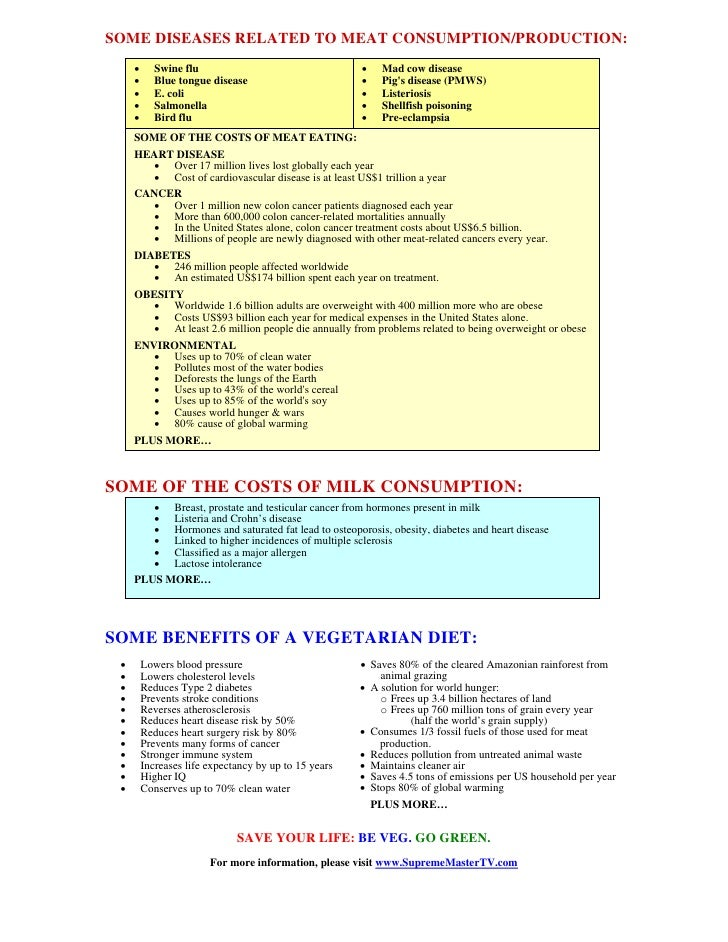 SOME DISEASES RELATED TO MEAT CONSUMPTION/PRODUCTION:      •      Swine flu                                  •    Mad cow ...