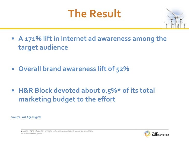 The Result <ul><li>A 171% lift in Internet ad awareness among the target audience  </li></ul><ul><li>Overall brand awarene...