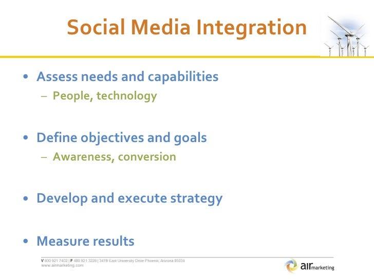 Social Media Integration <ul><li>Assess needs and capabilities </li></ul><ul><ul><li>People, technology </li></ul></ul><ul...