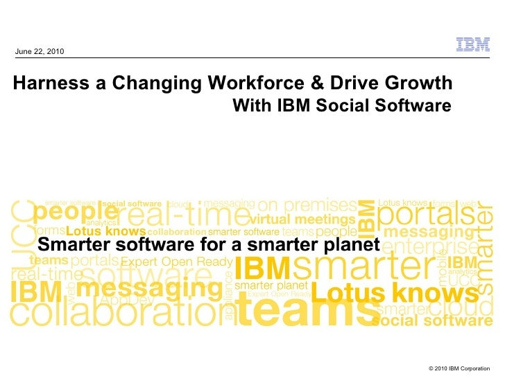 June 22, 2010Harness a Changing Workforce & Drive Growth                     With IBM Social Software                     ...