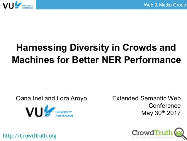Web & Media Group http://CrowdTruth.org Harnessing Diversity in Crowds and Machines for Better NER Performance Oana Inel a...