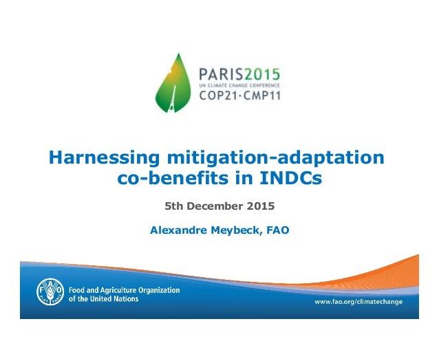 Harnessing mitigation-adaptation co-benefits in INDCs 5th December 2015 Alexandre Meybeck, FAO