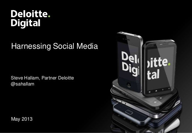 Harnessing Social Media May 2013 Steve Hallam, Partner Deloitte @sahallam