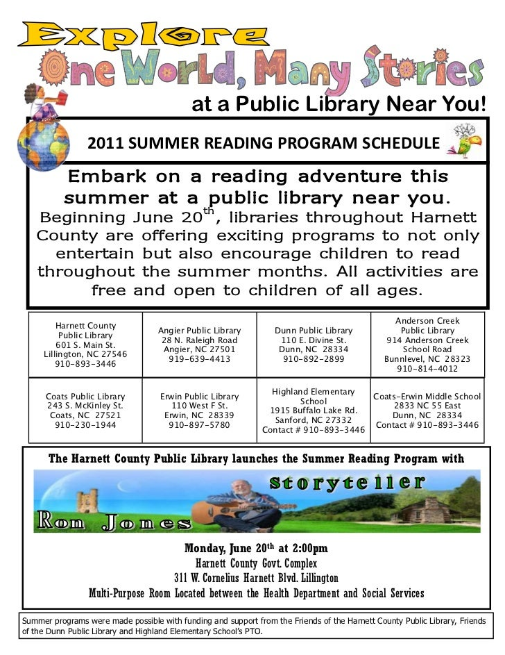 at a Public Library Near You!                 2011 SUMMER READING PROGRAM SCHEDULE          Embark on a reading adventure ...