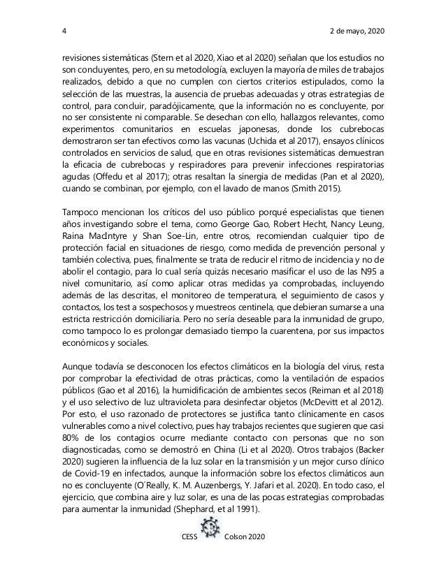 4 2 de mayo, 2020 CESS Colson 2020 revisiones sistemáticas (Stern et al 2020, Xiao et al 2020) señalan que los estudios no...