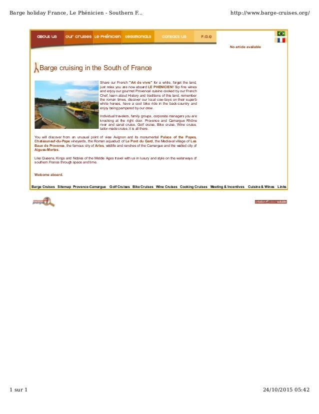 Barge Cruises Sitemap Provence-Camargue Golf Cruises Bike Cruises Wine Cruises Cooking Cruises Meeting & Incentives Cuisin...
