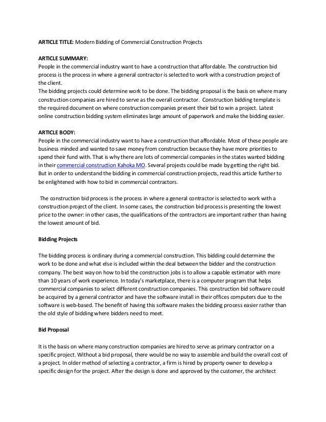 Construction Bid Template Free Microsoft Office Asafon Ggec Co