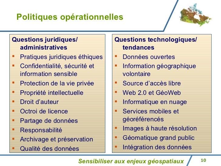 Politiques opérationnelles Sensibiliser aux enjeux géospatiaux <ul><li>Questions juridiques/ administratives </li></ul><ul...