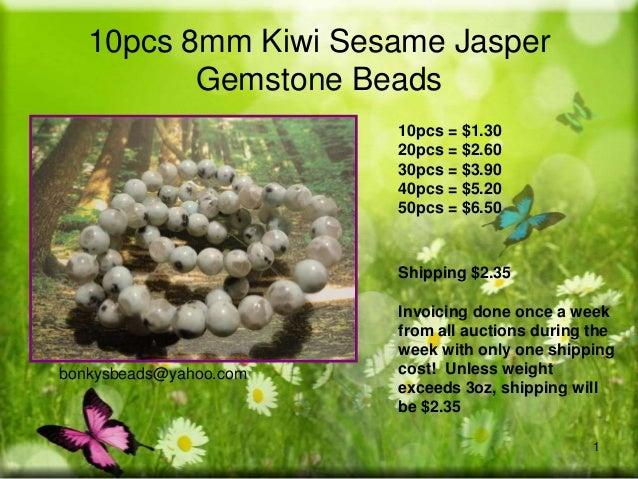 10pcs 8mm Kiwi Sesame Jasper Gemstone Beads 10pcs = $1.30 20pcs = $2.60 30pcs = $3.90 40pcs = $5.20 50pcs = $6.50  Shippin...