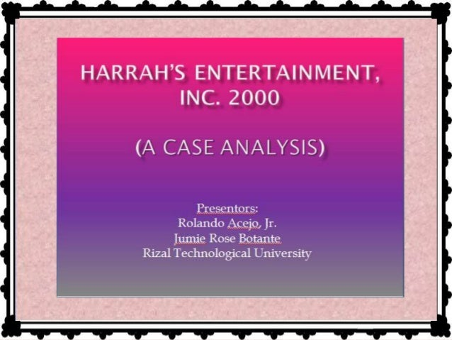 analysis of harrah entertainment inc Harrahs entertainment inc case solution,harrahs entertainment inc case analysis, harrahs entertainment inc case study solution, describes the situations in which philip satre, chairman and chief executive officer of entertainment harrah, inc satre read may 2000 wall street journal s.