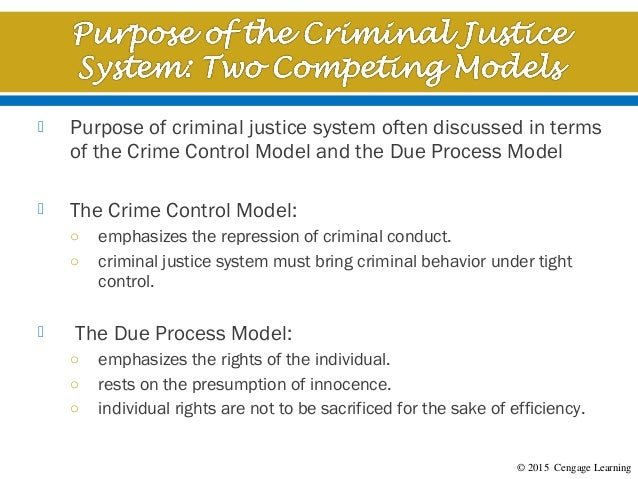 canadas criminal justice needs the crime control and due process models Crime control vs due process which of the models dominates criminal justice policy in the us at any particular time depends on the political climate neither model is likely to completely control criminal justice.