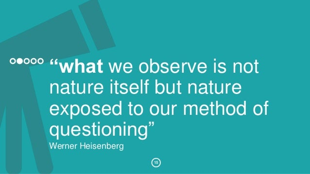 """""""what we observe is not  nature itself but nature  exposed to our method of  questioning""""  Werner Heisenberg  15"""