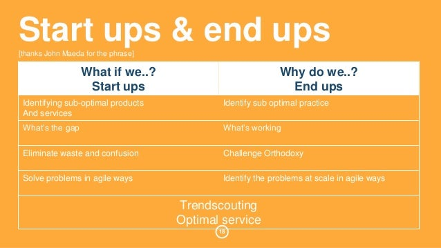 Start ups & end ups  [thanks John Maeda for the phrase]  18  What if we..?  Start ups  Why do we..?  End ups  Identifying ...