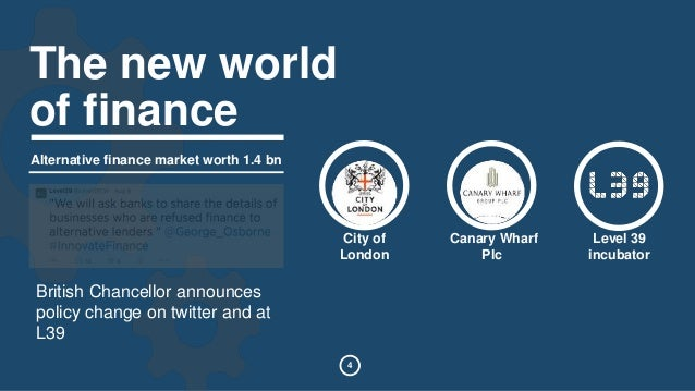 City of  London  4  Canary Wharf  Plc  Level 39  incubator  The new world  of finance  Alternative finance market worth 1....