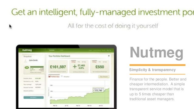 Nutmeg  15 minutes  break  Simplicity & transparency  Finance for the people. Better and  cheaper intermediation. A simple...