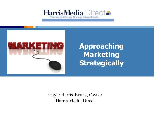 Approaching Marketing Strategically Gayle Harris-Evans, Owner Harris Media Direct