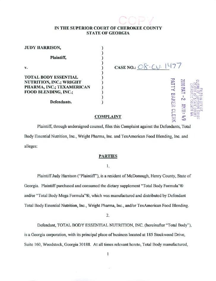 Harrison Complaint 2 Pgs