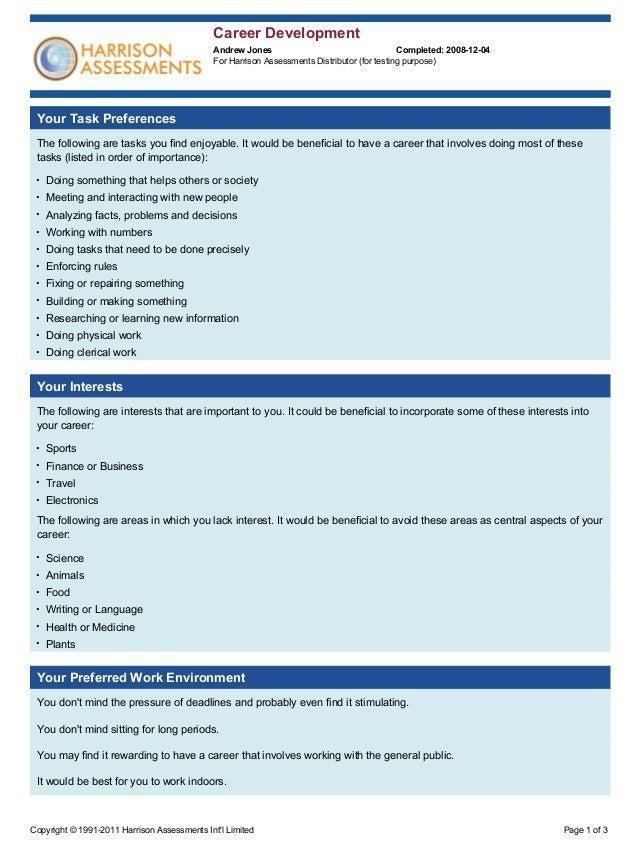 Sample Career Assessment - Resume Template Ideas