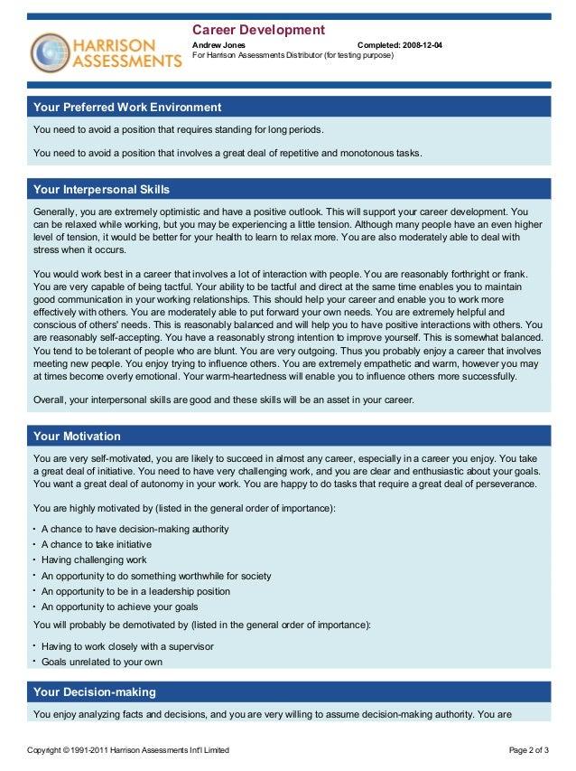 Harrison Assessments Sample Report Career Development – Sample Career Assessment