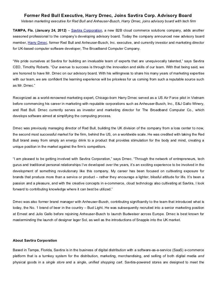 Former Red Bull Executive, Harry Drnec, Joins Savtira Corp. Advisory Board