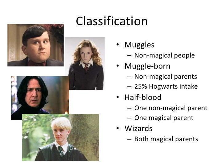 Classification<br />Muggles<br />Non-magical people<br />Muggle-born<br />Non-magical parents<br />25% Hogwarts intake<br ...
