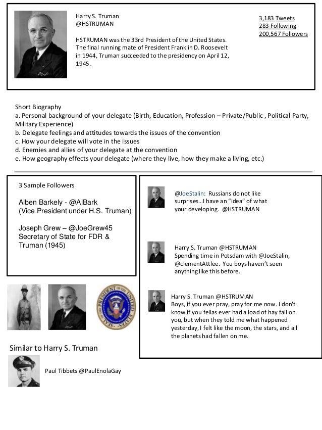 Harry S. Truman                                                       3,183 Tweets                       @HSTRUMAN        ...