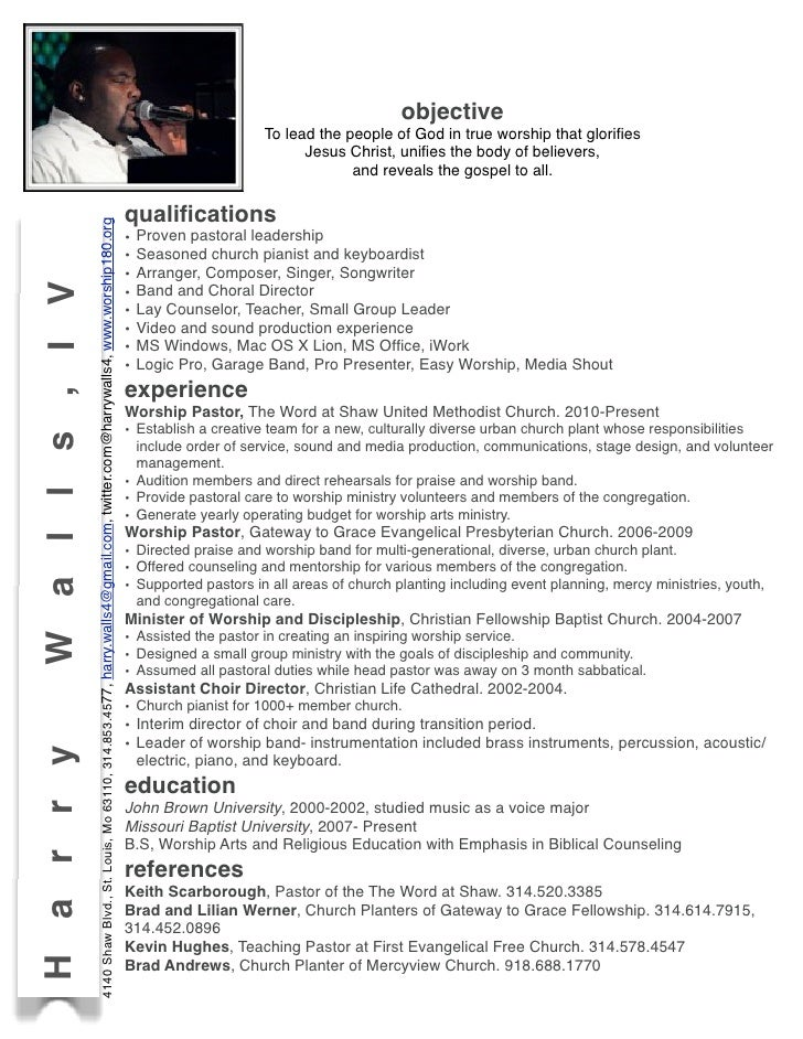 church musician resume