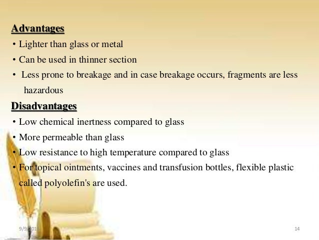 Disadvantages Of Glass Containers In Pharmacy