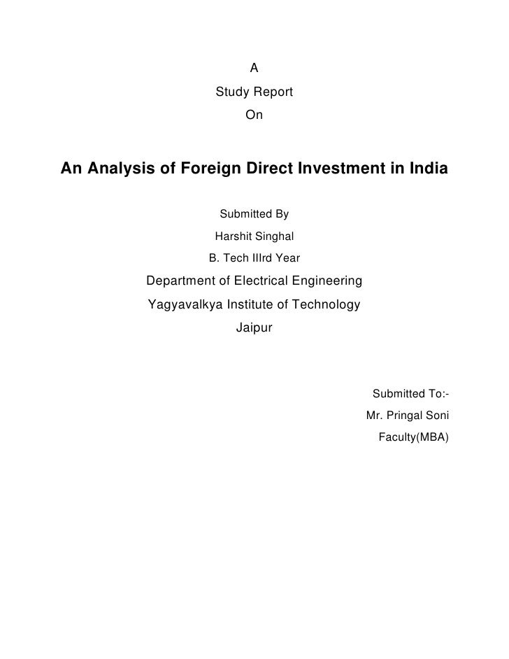 A                      Study Report                            OnAn Analysis of Foreign Direct Investment in India        ...