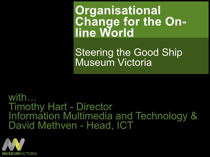 Organisational Change for the On-line World  with… Timothy Hart - Director  Information Multimedia and Technology & David ...