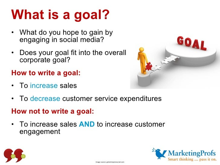 What is a goal?  <ul><li>What do you hope to gain by  engaging in social media? </li></ul><ul><li>Does your goal fit into ...