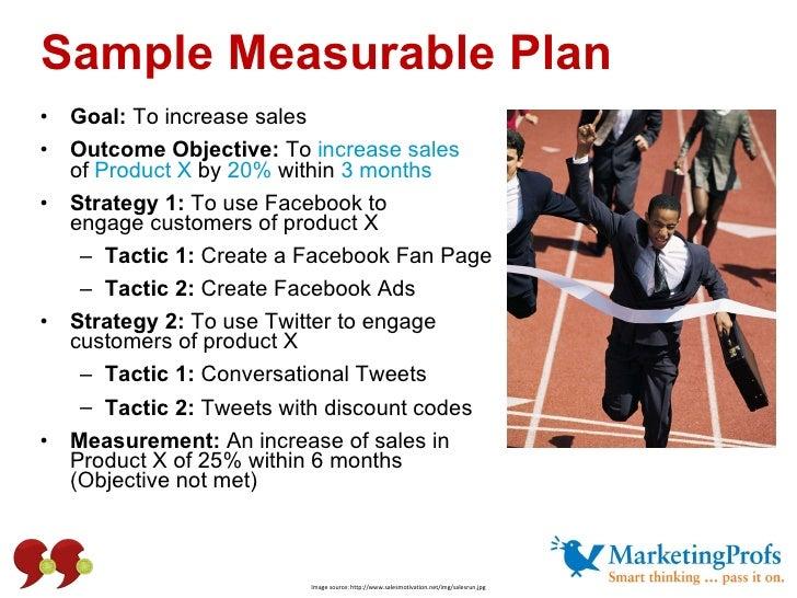 Sample Measurable Plan <ul><li>Goal:  To increase sales </li></ul><ul><li>Outcome Objective:  To  increase sales  of  Prod...