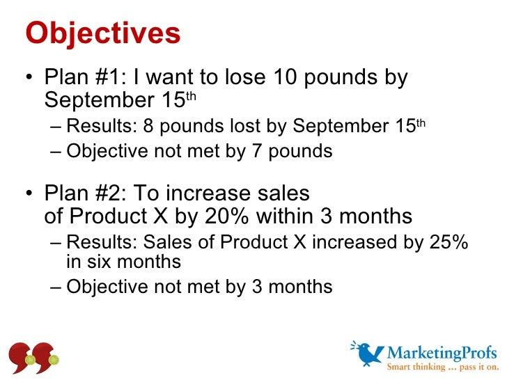 Objectives <ul><li>Plan #1: I want to lose 10 pounds by September 15 th </li></ul><ul><ul><li>Results: 8 pounds lost by Se...