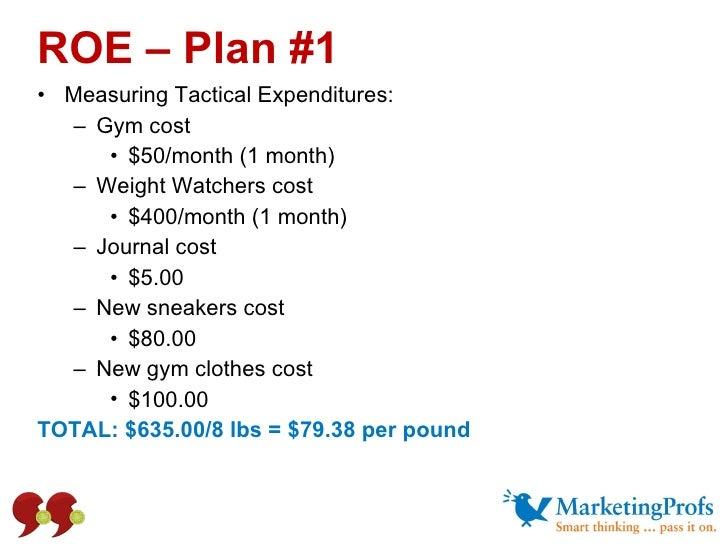 <ul><li>Measuring Tactical Expenditures: </li></ul><ul><ul><li>Gym cost  </li></ul></ul><ul><ul><ul><li>$50/month (1 month...