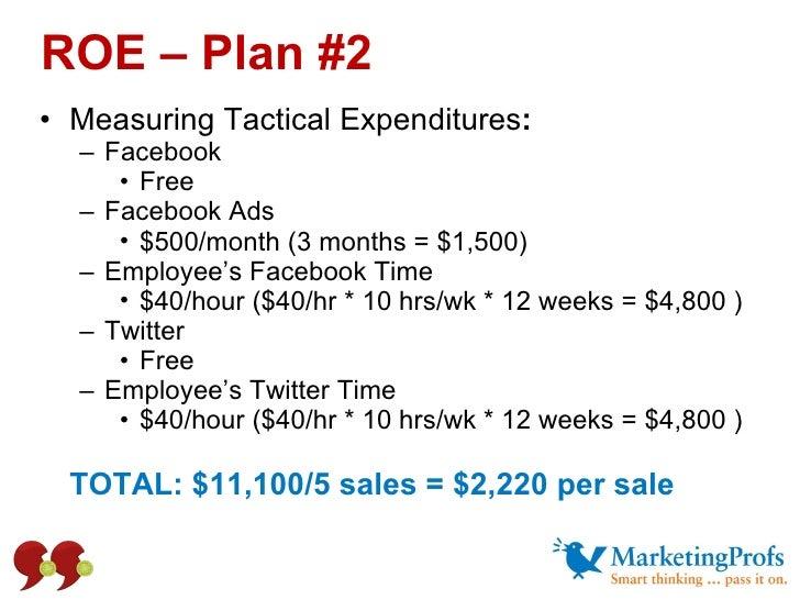 ROE – Plan #2 <ul><li>Measuring Tactical Expenditures : </li></ul><ul><ul><li>Facebook </li></ul></ul><ul><ul><ul><li>Free...