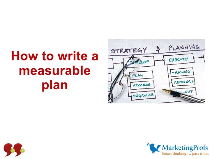 How to write a measurable plan