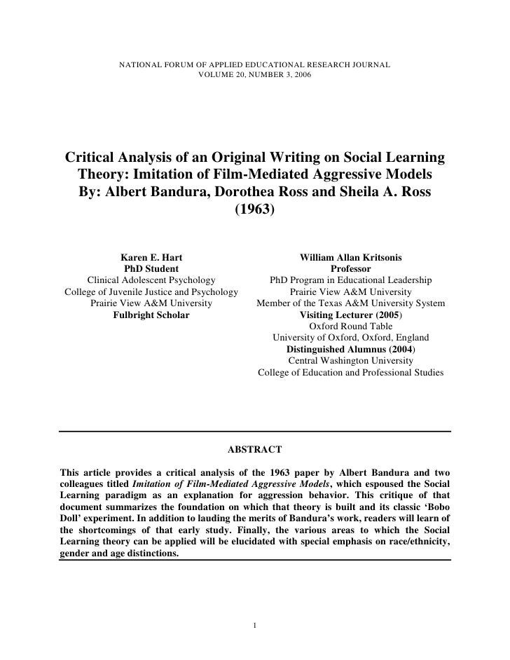 NATIONAL FORUM OF APPLIED EDUCATIONAL RESEARCH JOURNAL                             VOLUME 20, NUMBER 3, 2006 Critical Anal...