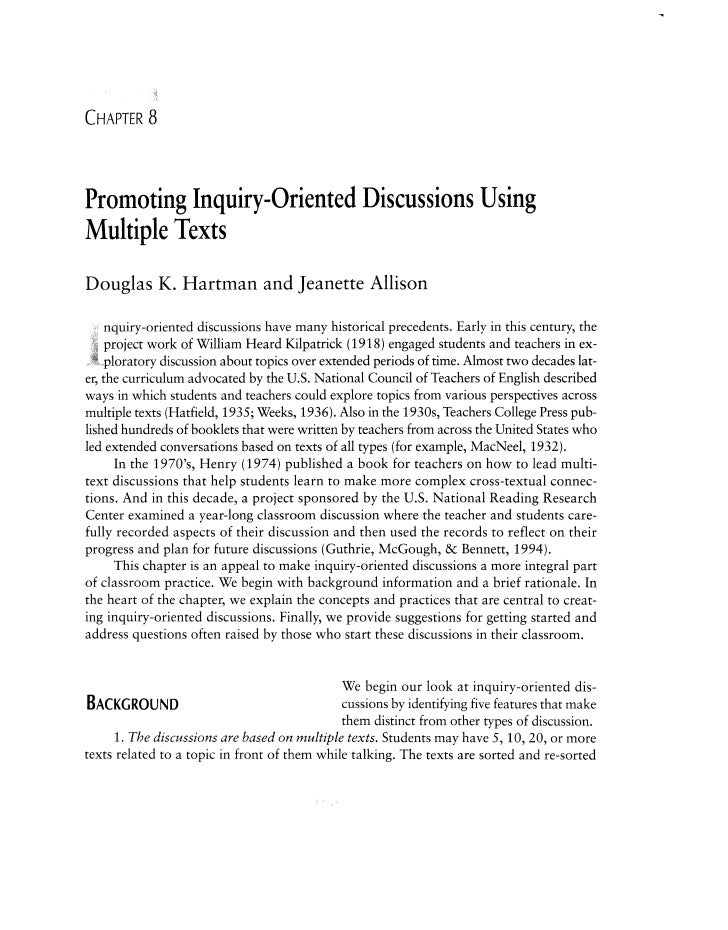 CHAPTER    8Promoting Inquiry-Oriented Discussions UsingMultiple TextsDouglas K. Hartman and Jeanette Allison     nquiry-o...