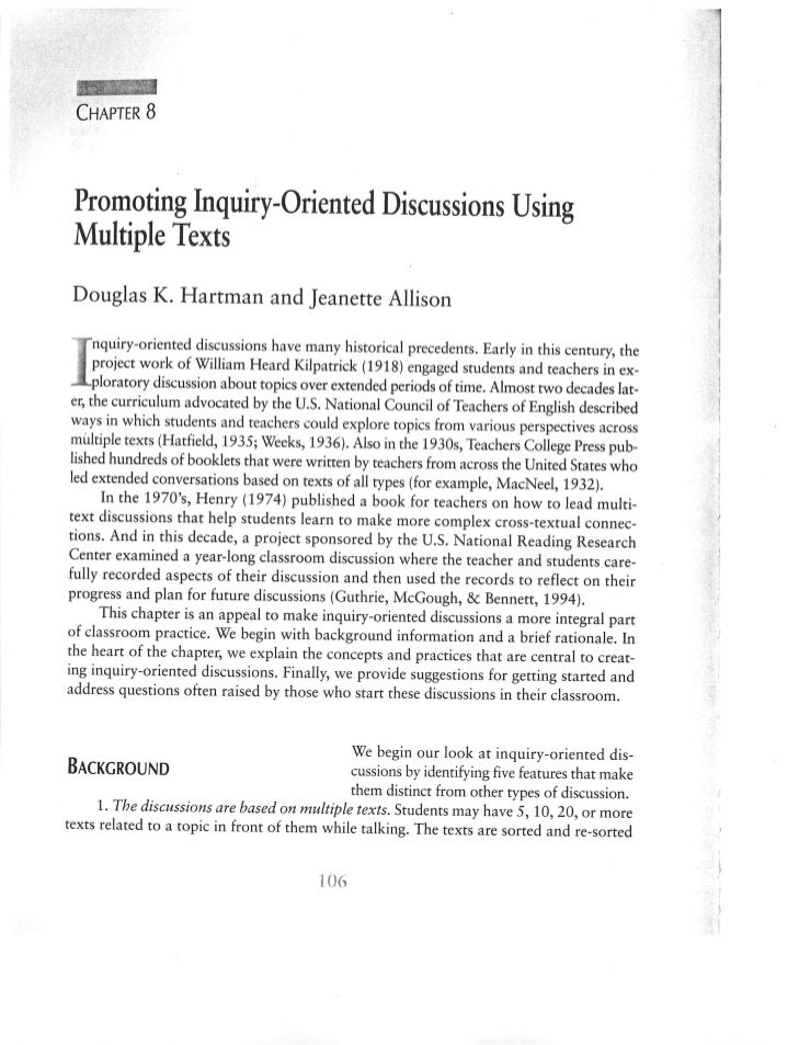 Hartman1996 inquiry Discussions Multiple Textss