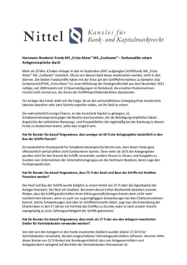 """Hartmann Reederei–Fonds MS """"Frisia Alster"""" MS """"Cuxhaven"""" – Fachanwälte setzenAnlegeransprüche durchMehr als 20 Mio. € habe..."""